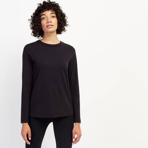 Roots-Women Tops-Essential Long Sleeve Top-Black-A