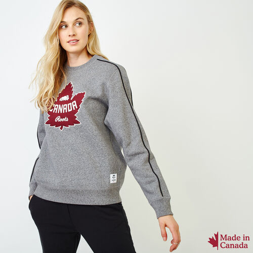 Roots-Women Sweatshirts & Hoodies-Womens Canada Crew Sweatshirt-Salt & Pepper-A