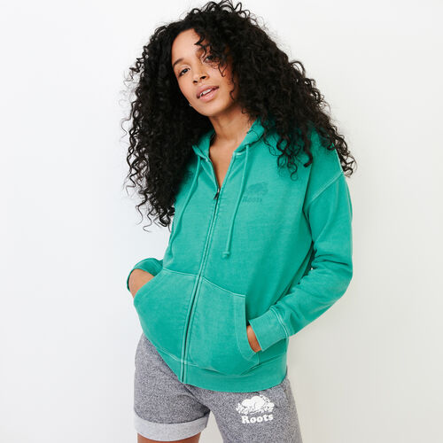 Roots-Women Categories-Kelowna Full Zip Hoody-Sea Green-A
