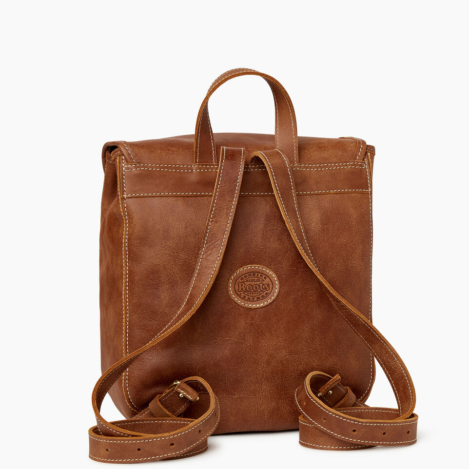 Roots-Leather New Arrivals-Little Nells Backpack-Natural-C