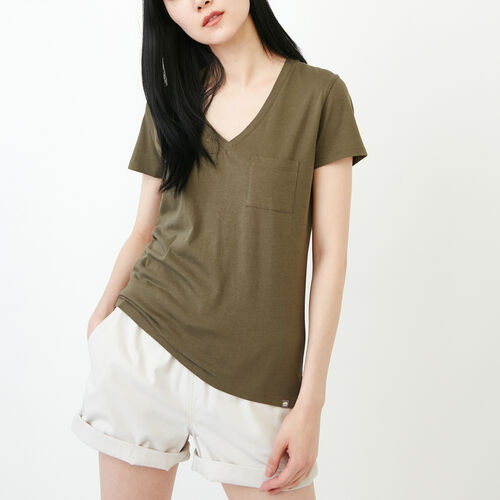 Roots-Women Tops-Essential V T-shirt-Fatigue-A