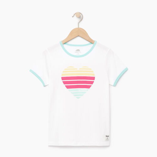 Roots-Clearance Kids-Girls Heart Ringer T-shirt-Ivory-A
