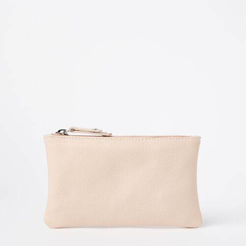 Roots-Women Leather Accessories-Medium Zip Pouch Prince-Blush-A
