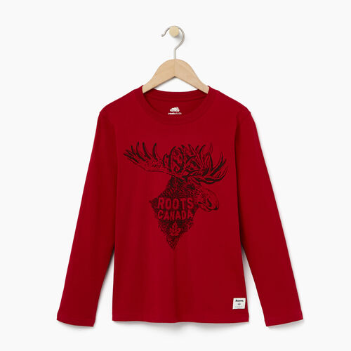 Roots-Kids T-shirts-Boys Wilderness T-shirt-Cabin Red-A