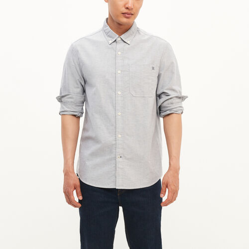 Roots-Winter Sale Men-Canadore Oxford Shirt-Grey Mix-A