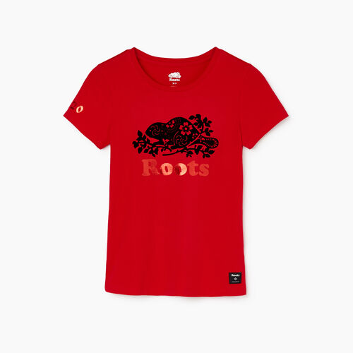 Roots-Women Tops-Womens Lunar New Year Slim T-Shirt-Racing Red-A