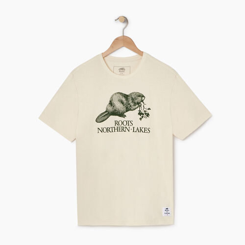 Roots-New For April Heather Cooper Collection-Mens Cooper Heather Beaver T-shirt-Natural-A