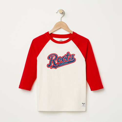 Roots-Kids T-shirts-Boys Dorval Baseball Top-Pristine White-A