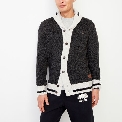 Roots-Men Our Favourite New Arrivals-Roots Cabin Shawl Cardigan-Black Mix-A