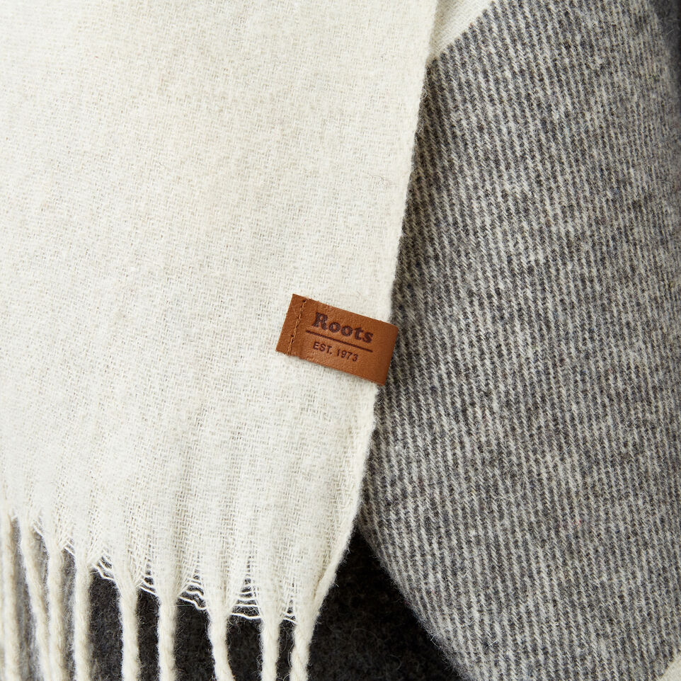 Roots-New For December Today Only: 40% Off Park Plaid Collection-Roots Park Plaid Blanket Scarf-Light Fog-D