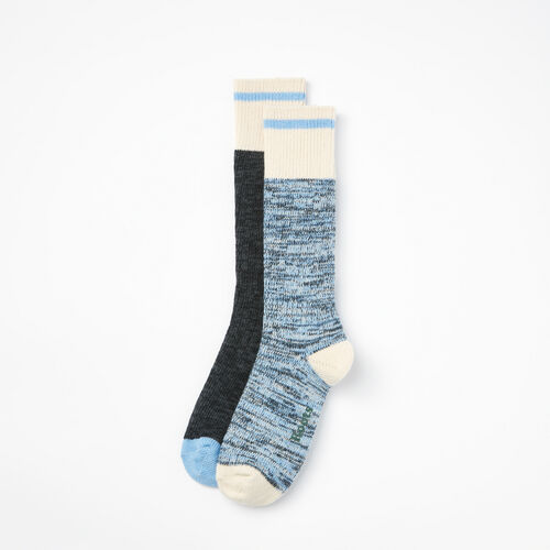Roots-Women Socks-Womens Cotton Cabin Sock 2 Pack-Blue Mix-A