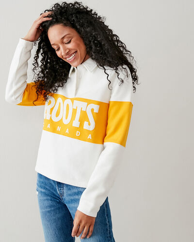Roots-New For This Month Roots Retro-Retro Cropped Field Rugby Sweatshirt-Egret-A