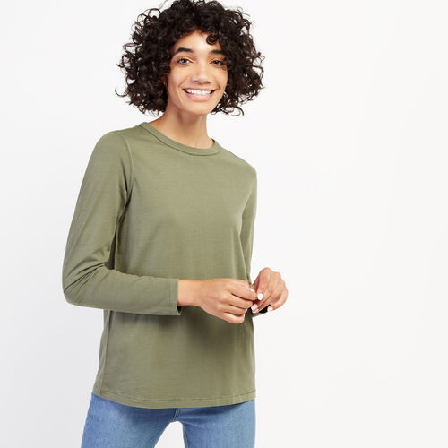 Roots-Women Long Sleeve Tops-Essential Long Sleeve Top-Dark Dried Sage-A