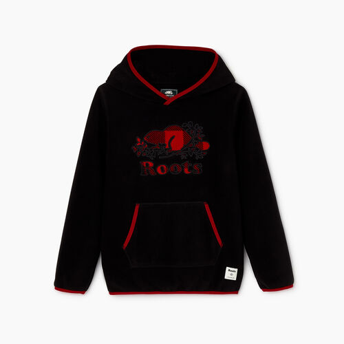 Roots-Kids Sweats-Boys Nordic Trek Kanga Hoody-Black-A
