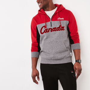 Roots-Men Men's-Canada Script Kanga Hoody-Sage Red-A