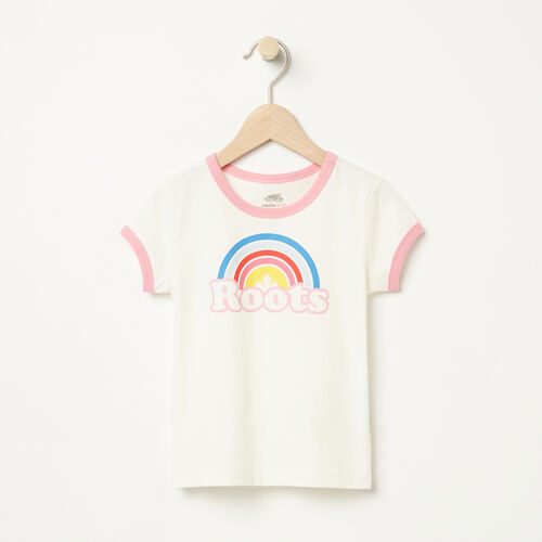 Roots-Kids T-shirts-Toddler Cooper Rainbow Ringer T-shirt-Pristine White-A