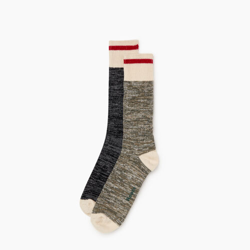 Roots-Men Socks-Mens Cotton Cabin Sock 2 Pack-Loden-A