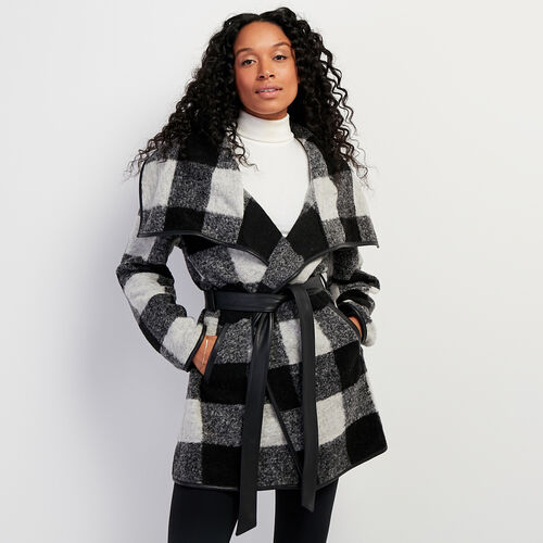 Roots-Women Leather Jackets-Julia Coat Park Plaid-Black-A