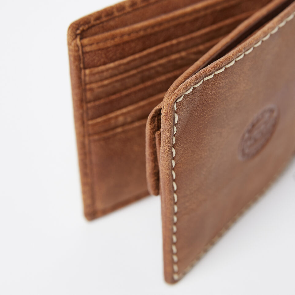 Roots-Leather Men's Wallets-Mens Slimfold Wallet With Coin Pocket Tribe-Natural-E