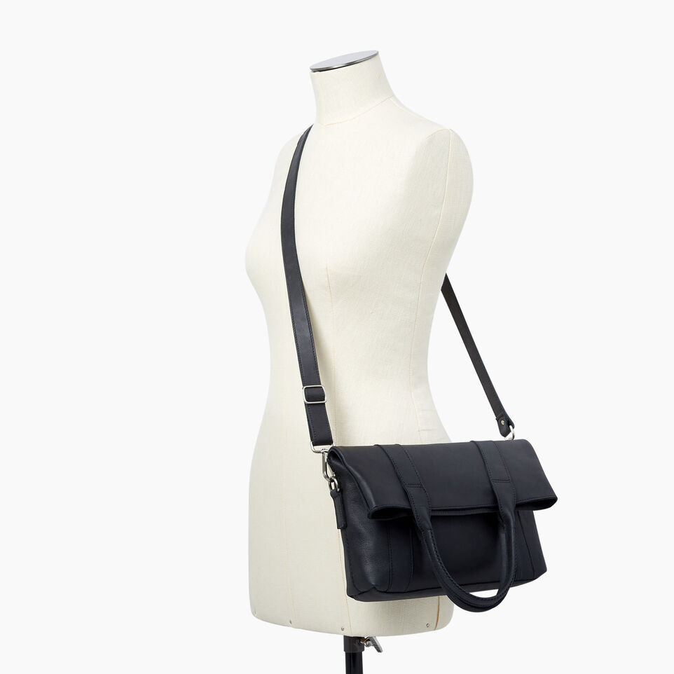 Roots-Leather  Handcrafted By Us Handbags-Annex Tote-Jet Black-B
