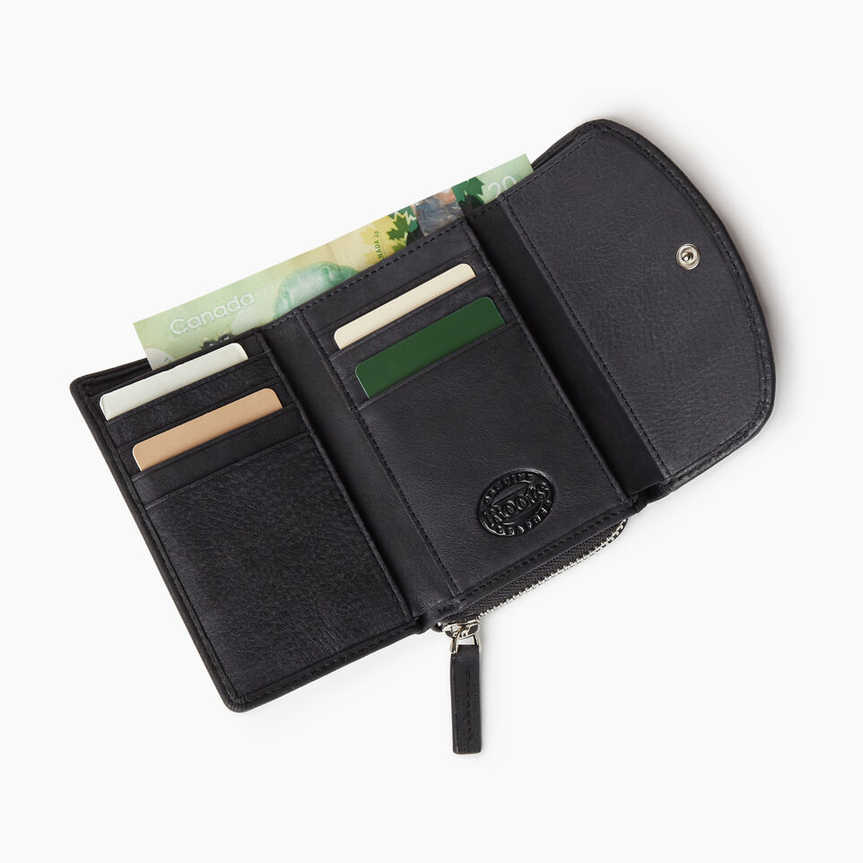 Roots-Leather Categories-Small Canmore Wallet Tribe-Jet Black-C