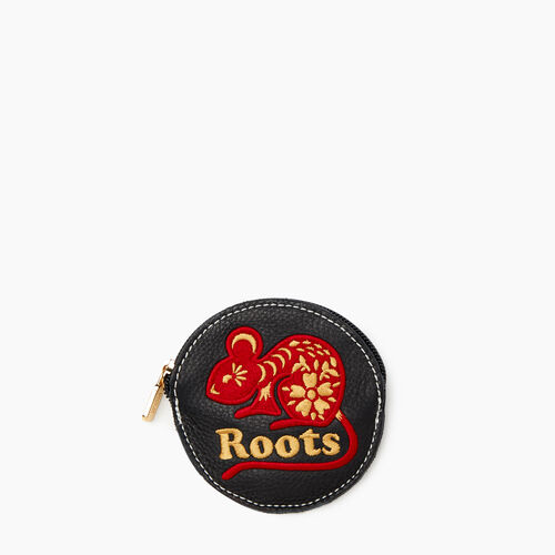 Roots-Women Leather Accessories-Rat Coin Pouch-Black-A