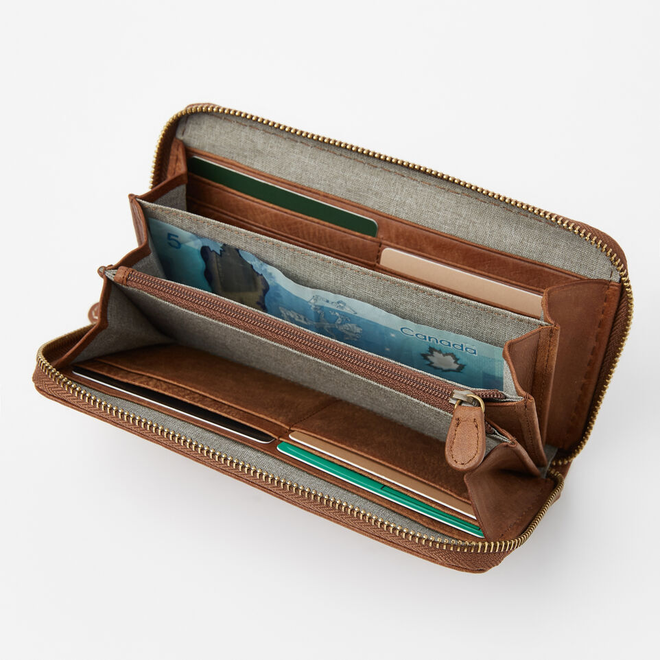 Roots-Leather Wallets-Zip Around Clutch Tribe-Natural-B