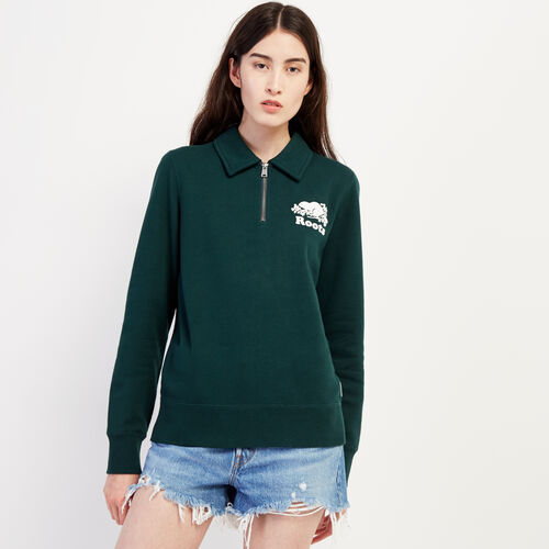 Roots-Women Bestsellers-Original Zip Polo-Varsity Green-A