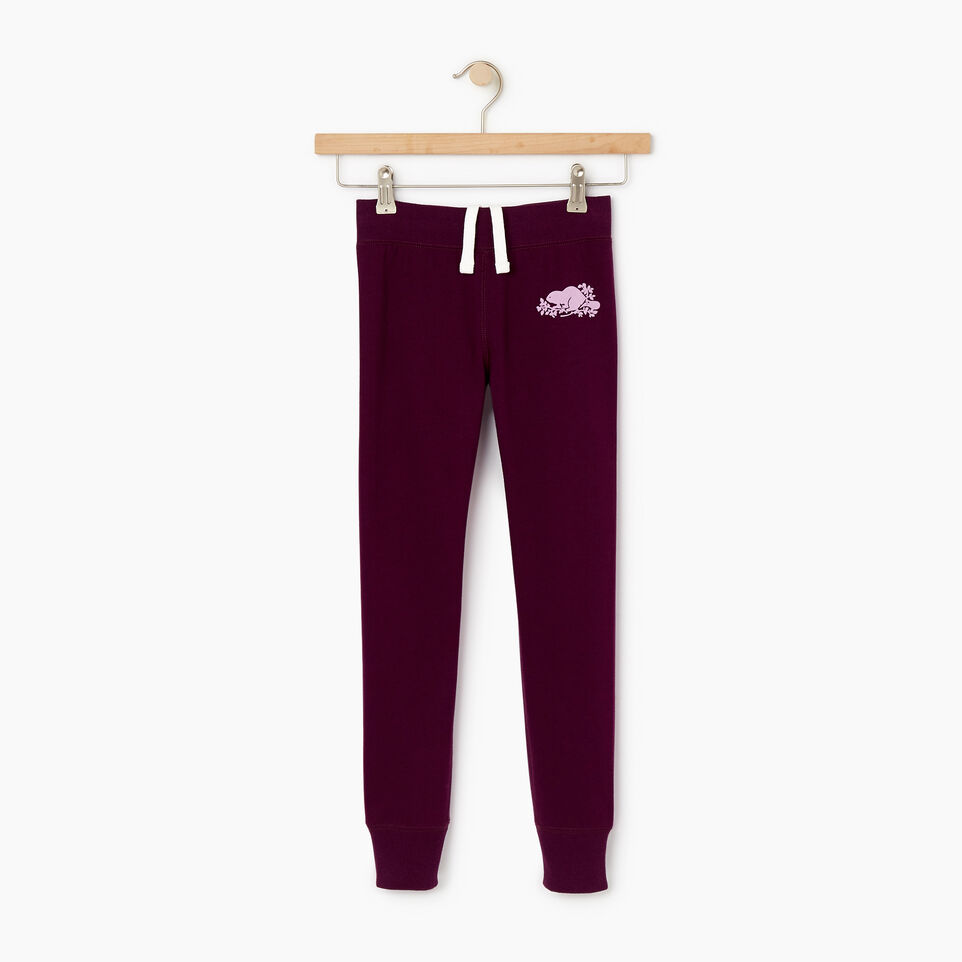 Roots-Kids New Arrivals-Girls Cozy Fleece Sweatpant-Pickled Beet-A