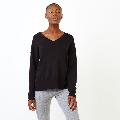 Roots-Women Categories-Alma V Neck Sweater-Black-A
