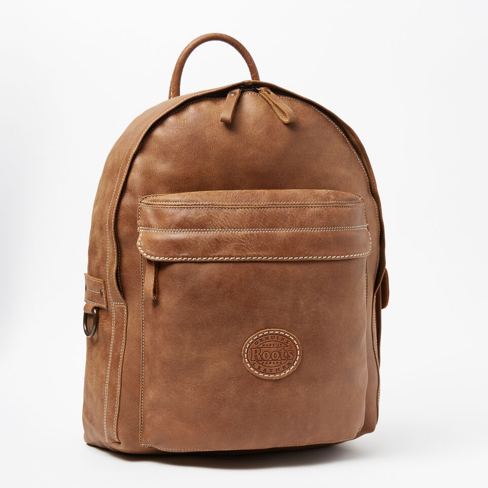 Roots-Leather Backpacks-Student Pack Tribe-Natural-A