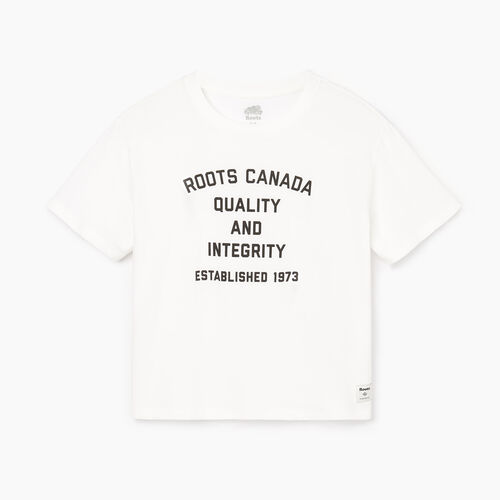 Roots-Women Graphic T-shirts-Womens Open Air T-shirt-Ivory-A