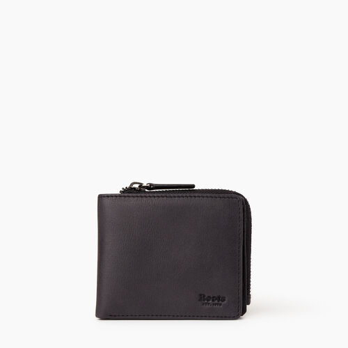 Roots-Leather  Handcrafted By Us Wallets-Mens Bifold Zip Wallet Tribe-Jet Black-A