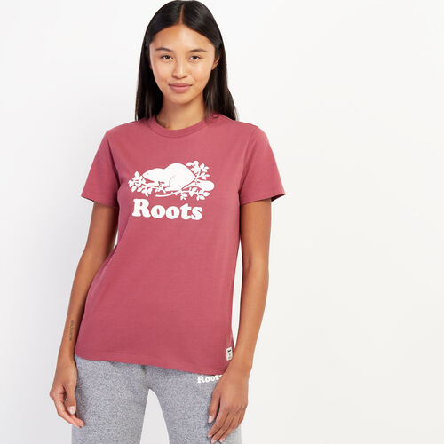 Roots-Women Graphic T-shirts-Womens Cooper Beaver T-shirt-Hawthorn Rose-A