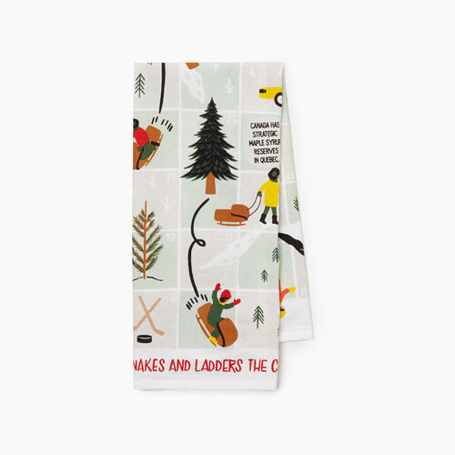 Roots-New For November General Store-Roots Game Tea Towel-Birch White-A