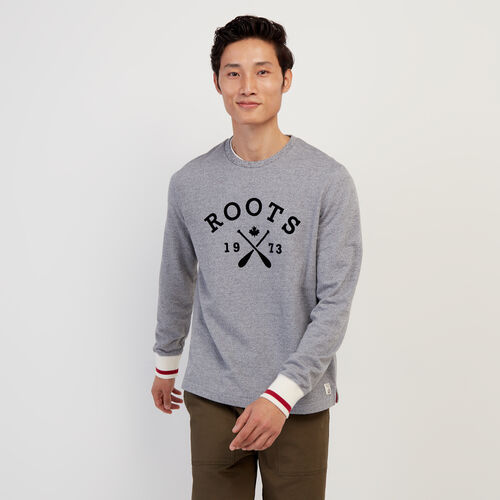 Roots-Men New Arrivals-Cabin Crew Sweatshirt-Light Salt & Pepper-A