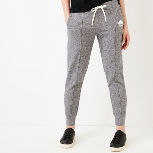 Roots-Women Slim Sweatpants-Pintuck Sweatpant-Salt & Pepper-A