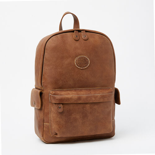 Roots-Leather Backpacks-Central Pack Tribe-Natural-A