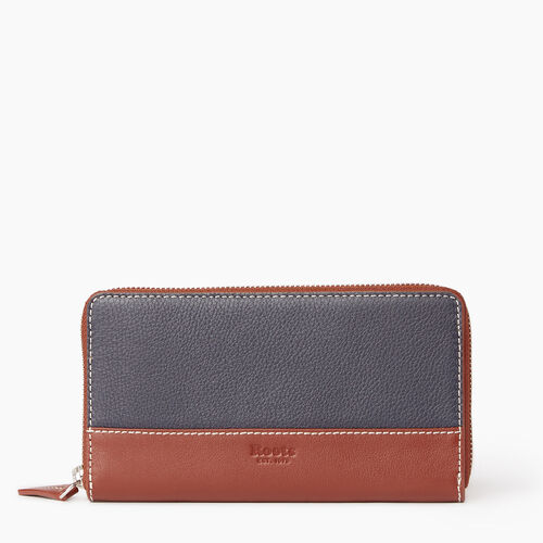 Roots-Leather Categories-Zip Around Wallet-Ultramarine/oak-A