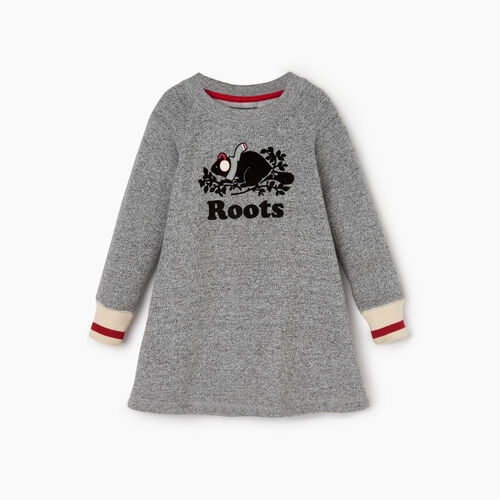 Roots-Sale Kids-Toddler Buddy Cozy Fleece Dress-Salt & Pepper-A