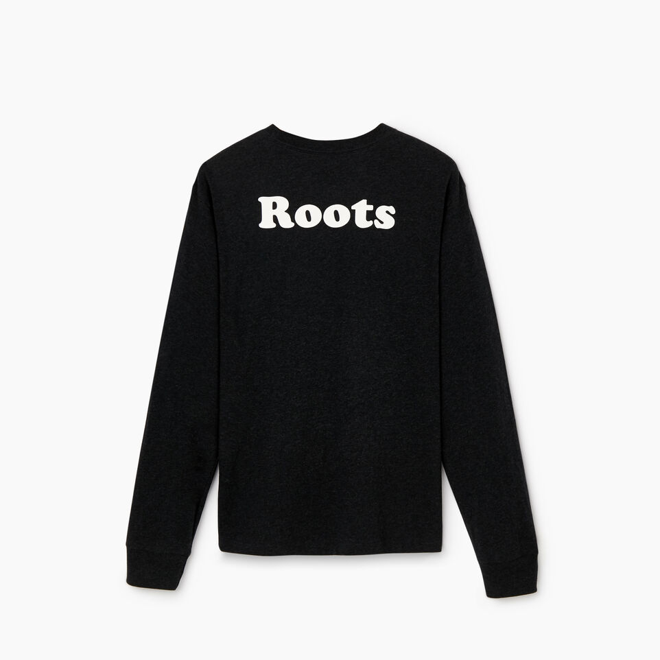 Roots-Men New Arrivals-Mens Cooper Leaf Long Sleeve T-shirt-Black Mix-B