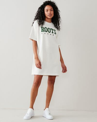 Roots-New For This Month Roots Retro-Retro Fleece Dress-Egret-A
