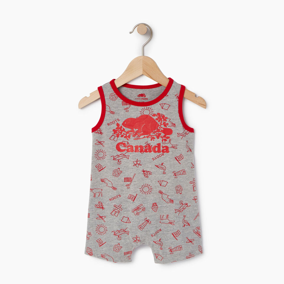 Roots-Kids Canada Collection-Baby Canada Aop Romper-Grey Mix Pepper-A