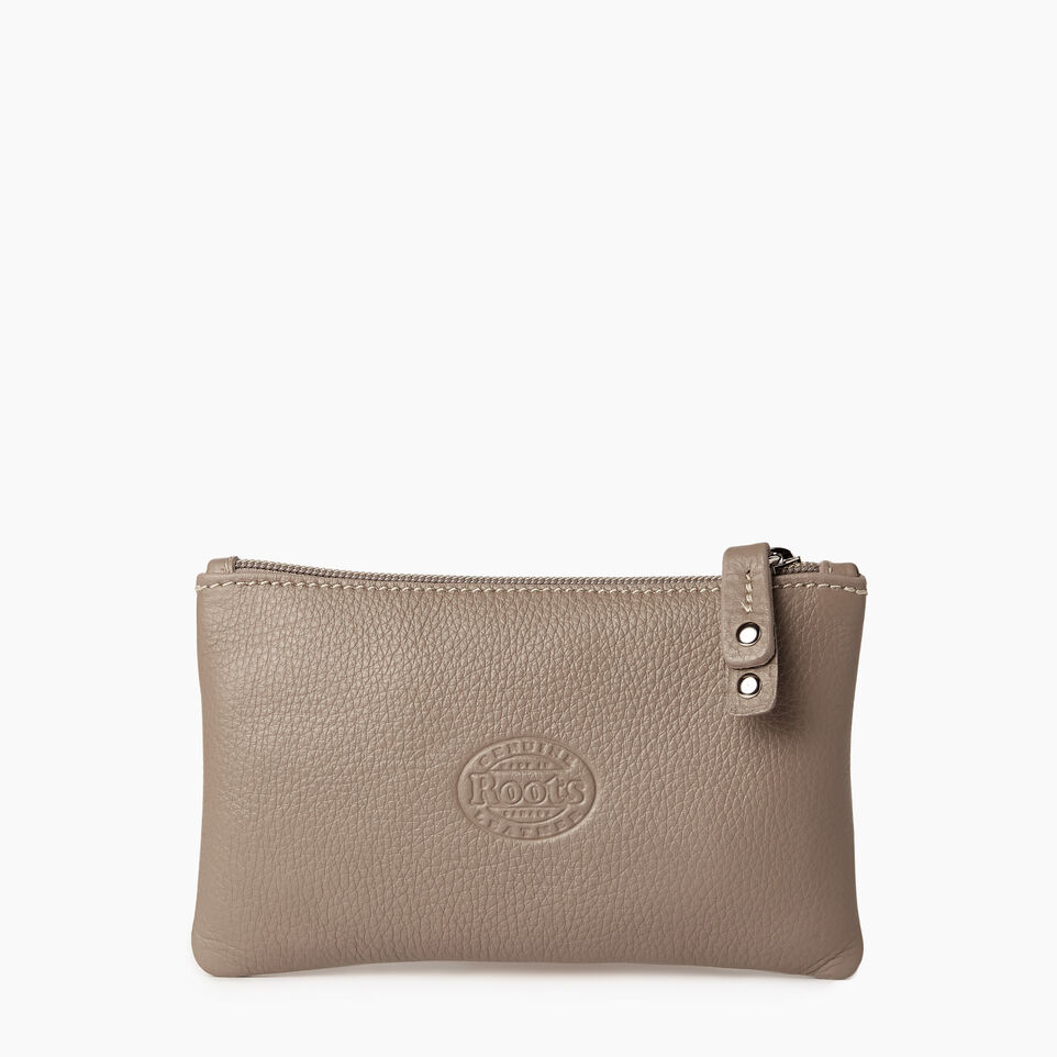 Roots-Leather  Handcrafted By Us Our Favourite New Arrivals-Medium Zip Pouch-Flint Grey-C