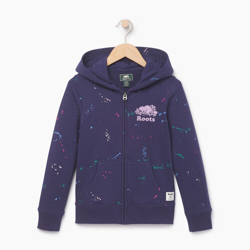Roots-Clearance Kids-Girls Splatter Full Zip Hoody-Eclipse-A