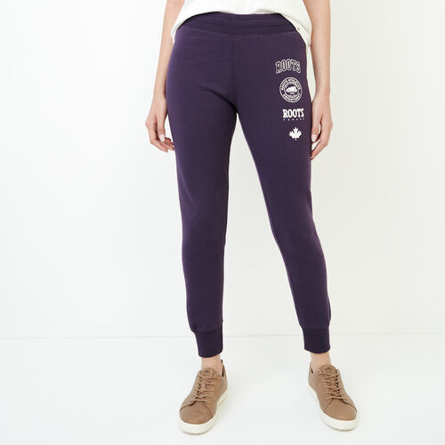 Roots-Women Sweatpants-Stamps Slim Sweatpant-Night Shade-A