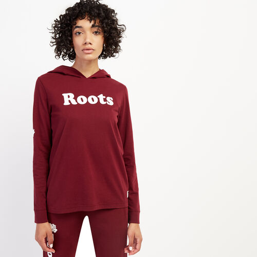 Roots-Women Graphic T-shirts-Womens Remix Hooded Long Sleeve T-shirt-Mulberry-A