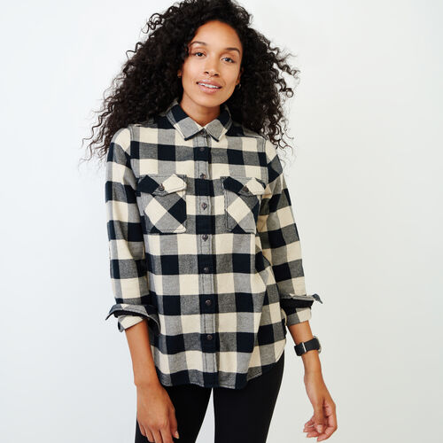 Roots-Women Our Favourite New Arrivals-Park Plaid Shirt-Black-A