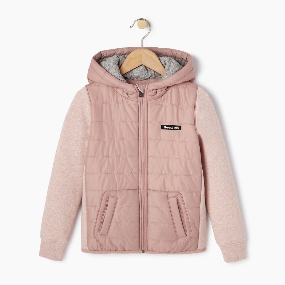 Roots-New For March Daily Offer-Girls Roots Hybrid Hoody Jacket-Woodrose-A
