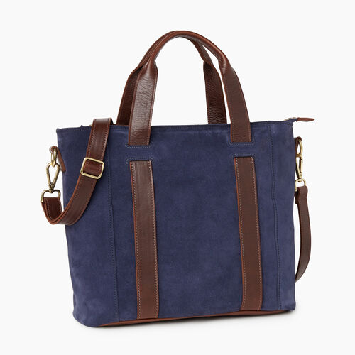 Roots-Leather Totes-Victoria Tote Suede-Navy-A